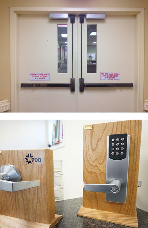 image of a set of commercial doors with crash bars (top) and a commercial door handle and a keypad door lock (bottom)