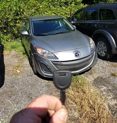 image of the new key we cut for this Mazda 3