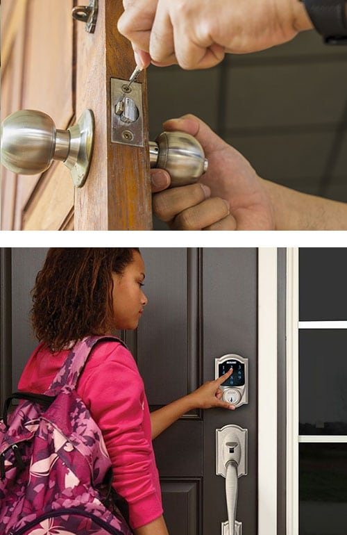 image of a door lock being installed on a front door (top) a young woman operating a keypad smart lock on a residential front door